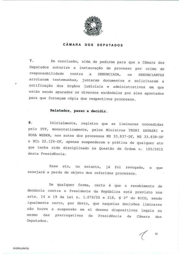 12 - Leia íntegra da decisão de Cunha que abriu processo de impeachment (Foto: Reprodução)
