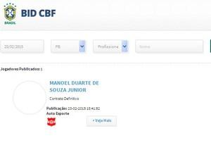 Contrato, BID, CBF, Júnior Mandacaru, Auto Esporte (Foto: Reprodução / CBF)
