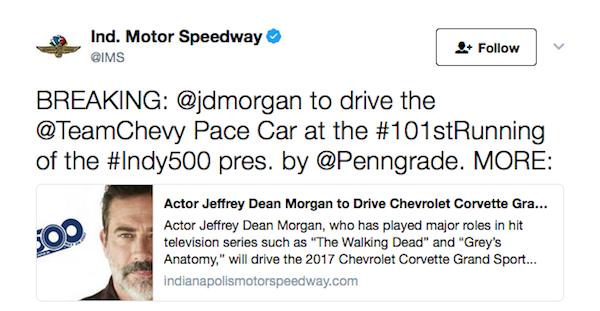 O anúncio do ator Jeffrey Dean Morgan como piloto do Safety Car das 500 Milhas de Indianópolis (Foto: Twitter)
