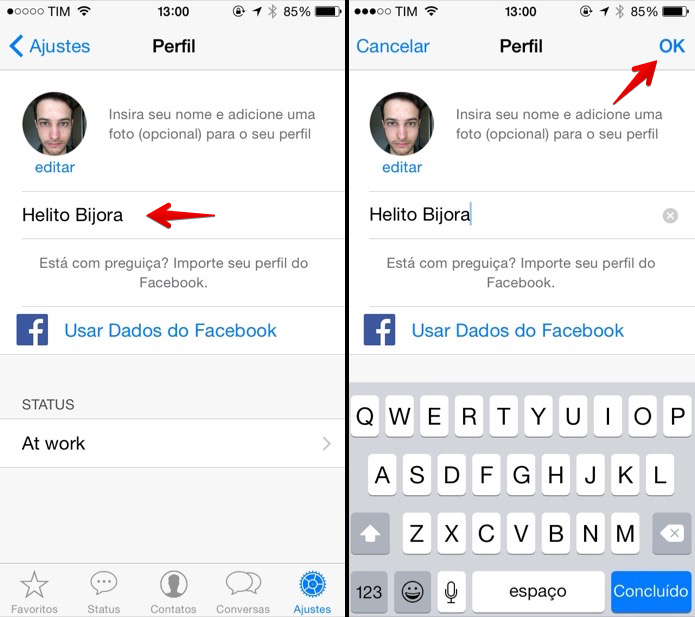 Editando nome no WhatsApp para iOS (Foto: Reprodução/Helito Bijora)