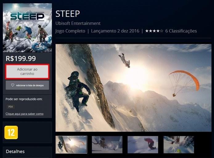 Compra de Steep pode ser feita pelo site ou diretamente pelo PS4 (Foto: Reprodução/Felipe Demartini)