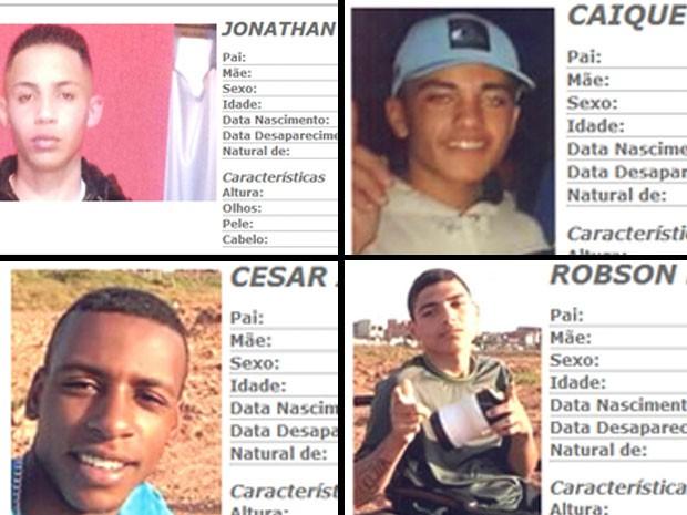 Quatro dos cinco rapazes desaparecidos quando iam a festa na Grande São Paulo (Foto: Montagem/Reprodução/Polícia Civil de São Paulo)