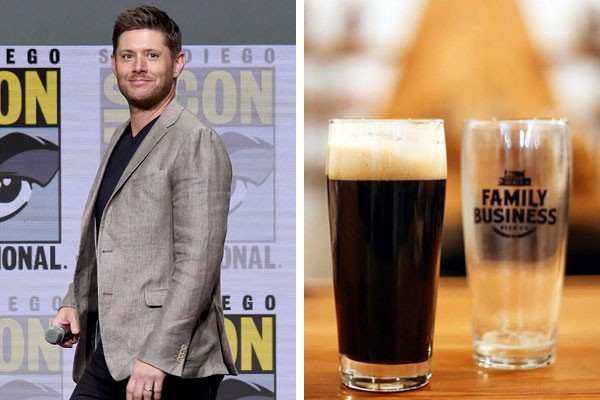 O ator Jensen Ackles e uma das cervejas produzidas em sua cervejaria (Foto: Getty Images/Reprodução Instagram)