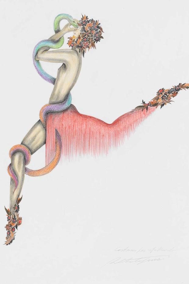 Costume sketch for Iamos, son of Apollo, by Roberto Capucci (Foto: ROBERTO CAPUCCI)