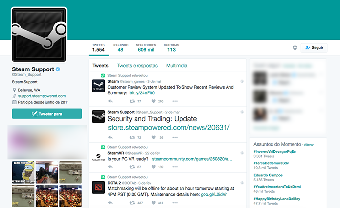 Conta oficial do Steam no Twitter também é uma boa alternativa (Foto: Reprodução/Murilo Molina)