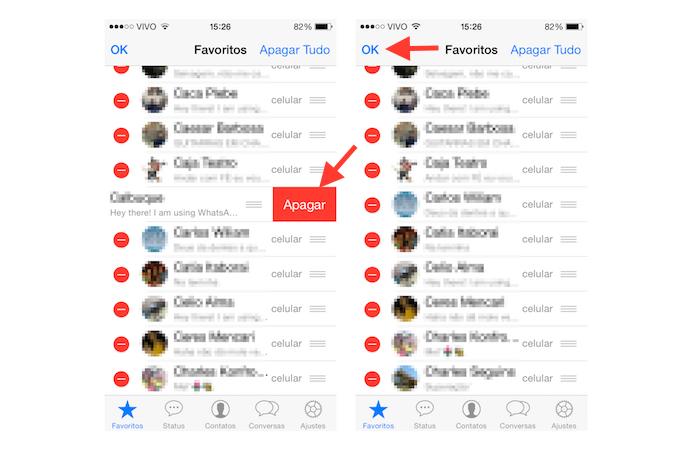 Retirando um contato da lista de favoritos do WhatsApp (Foto: Reprodução/Marvin Costa)