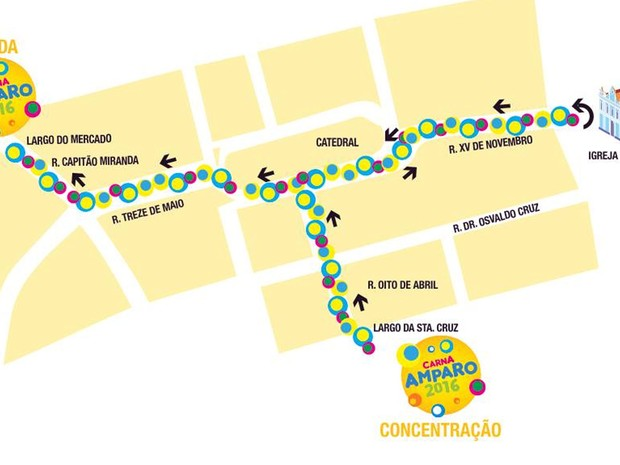 Arte da Prefeitura de Amparo mostra o trajeto dos blocos no carnaval (Foto: Arte Prefeitura de Amparo)