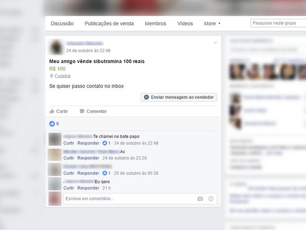 Venda de sibutramina sem receita médica é feita em grupos fechados em rede social (Foto: Reprodução/Facebook)