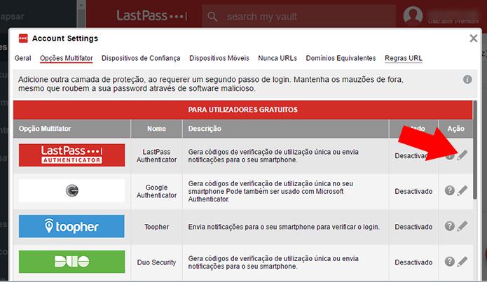 Acesse as configurações do LastPass Authenticator (Foto: Reprodução/Paulo Alves)