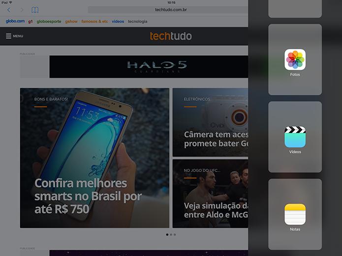 Tela de multitarefas do novo iPad: boa, mas tem que melhorar (Foto: Thiago Barros/TechTudo)