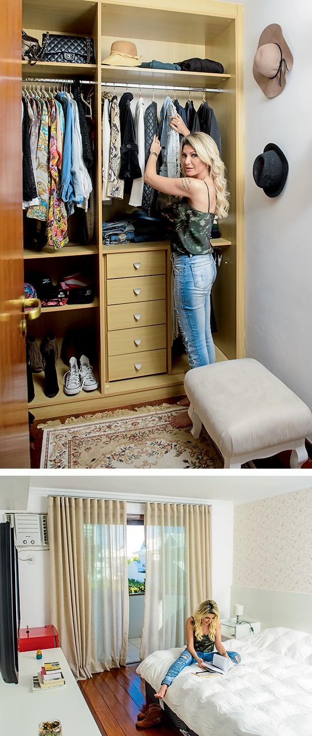 """No closet, poucas roupas:  """"Não sou consumista"""",  diz Antônia, que não curte  o papel de parede do quarto,  original da casa  (Foto:  )"""