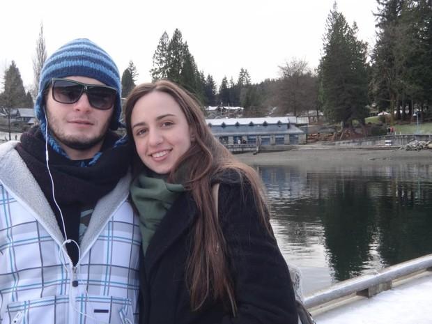 Michelle e Rodrigo viveram na mesma cidade, no interior de São Paulo, mas só foram se conhecer durante intercâmbio no Canadá. (Foto: Arquivo Pessoal)
