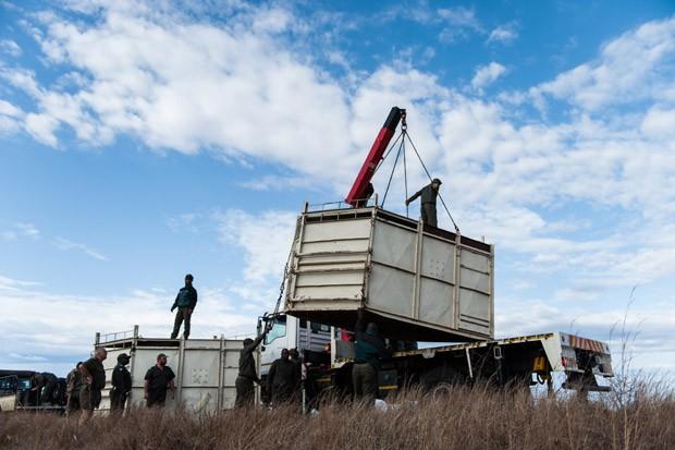 Contêiner é erguido até a traseira de um caminhão para o transporte do rinoceronte a ser realocado no parque (Foto: Stefan Heunis/AFP)