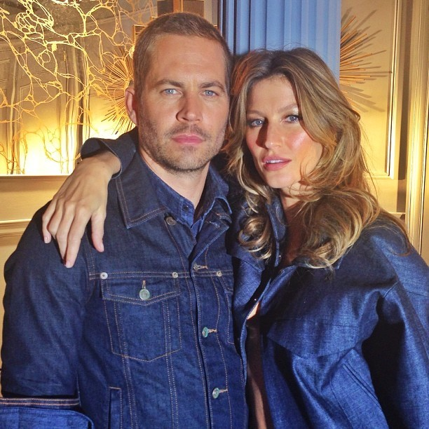 O ator Paul Walker acompanhado pela modelo Gisele Bündchen. Pelo twitter, ela lamentou a morte do ator (Foto: Divulgação)