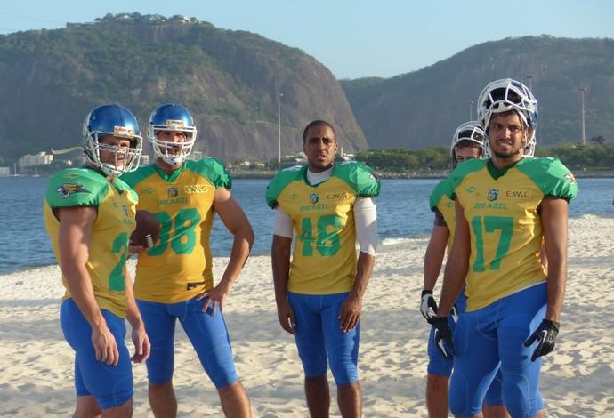 Raiam Santos kicker da seleção brasileira de futebol americano (Foto: Carol Fontes)