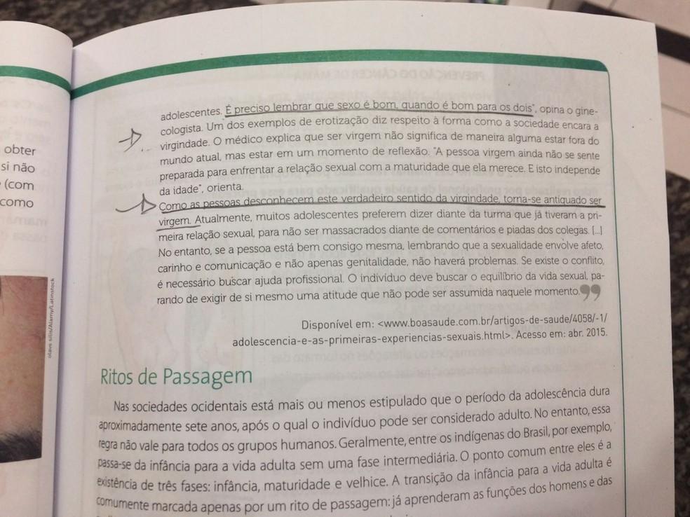 Mãe diz que trecho de livro incita alunos a perderem virgindade (Foto: Pâmela Fernandes/G1)