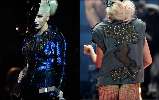 Na época de divulgação do álbum 'Born This Way', mais de dois anos atrás, Lady Gaga usou muitas roupas de couro bem apertadas. Acabou tendo problemas num show em que a parte de trás do figurino se abriu, revelando o traseiro da cantora. (Não que essa regi (Foto: Getty Images)
