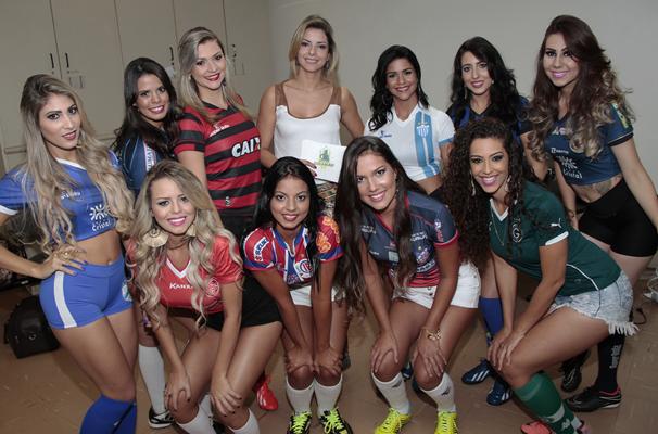 Bastidores do Especial Musa do Goianão 2015. (Foto: TV Anhanguera)