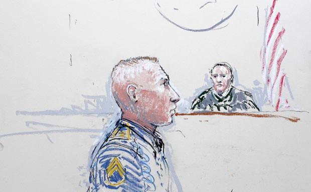 Concepção artística mostra o sargento Robert Bales no tribunal nesta quarta-feira (5) (Foto: AFP)