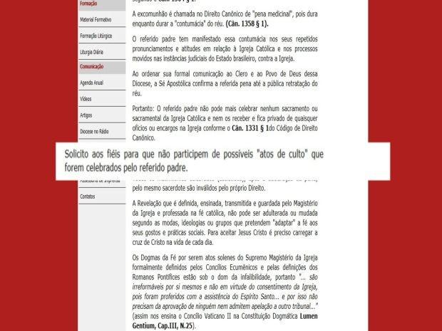 Diocese pede em nota que não fieis não participem de 'missa alternativa' (Foto: Divulgação / Diocese de Bauru)