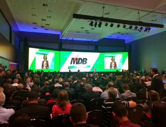 Painel de LED usado na convenção do PMDB tem 20 metros de comprimento (Foto: Divulgação)