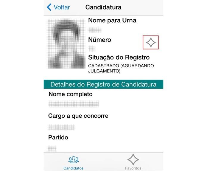 """Apesar das poucas informações apresentadas no app, é possível """"favoritar"""" o candidato em uma lista à parte (Foto:  Reprodução/Paulo Finott)"""