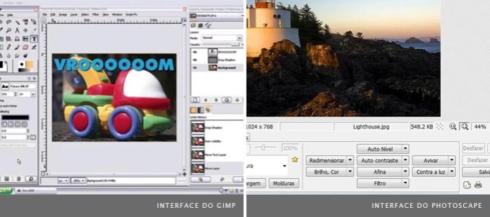Programas de edição gratuitos como o Gimp, à esquerda, e o PhotoScape, à direita, possuem recursos básicos (Foto: Reprodução) (Foto: Programas de edição gratuitos como o Gimp, à esquerda, e o PhotoScape, à direita, possuem recursos básicos (Foto: Reprodução))