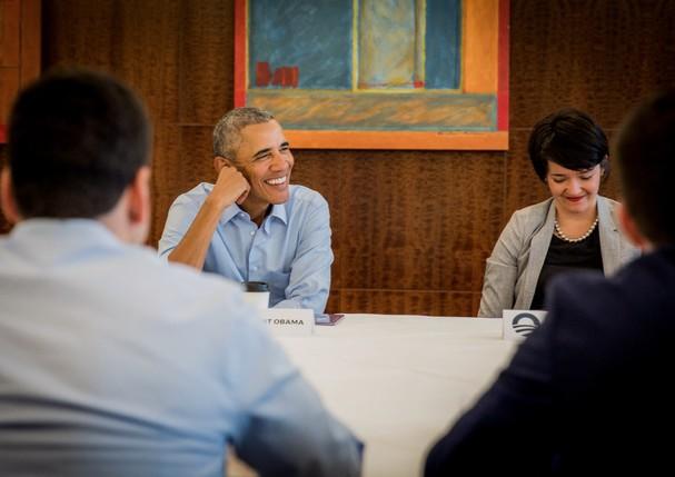 Liziane Silveira e Barack Obama (Foto: Arquivo Pessoal)
