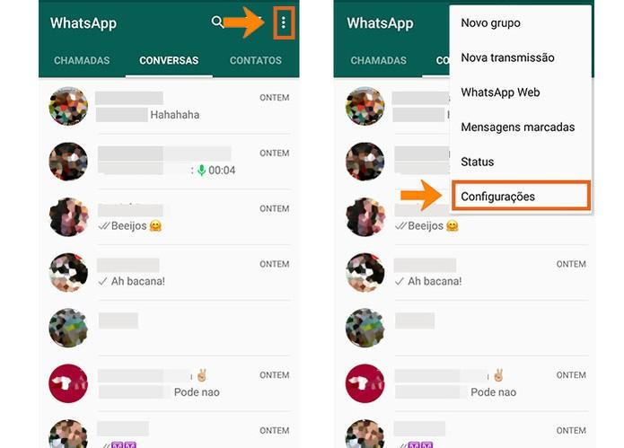 Acesse as configurações do WhatsApp no celular (Foto: Reprodução/Barbara Mannara)