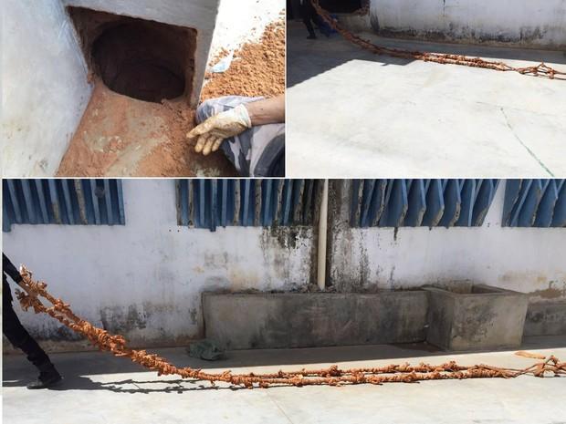Túnel foi descoberto no pavilhão 1 de Alcaçuz; dentro da escavação, agentes encontraram uma 'teresa', corda feita de lençóis (Foto: Sejuc/Divulgação)
