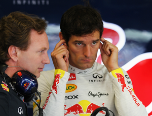Christian Horner e Mark Webber no boxe da RBR durante GP da Europa de 2012 (Foto: Getty Images)