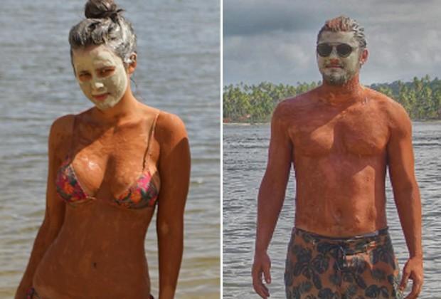 Em passeio, Yanna e Bruno fizeram tratamento com máscaras de argila, mas posaram para fotos separadamente (Foto: Reprodução/Instagram)