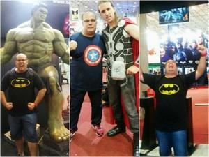 Fã de super-heróis, Sandro Sabino participou de Comic Con em SP (Foto: Sandro Sabino/Arquivo Pessoal)