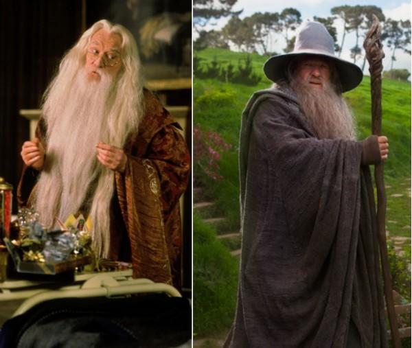 Richard Harrys como Dumbledore e Ian McKellen como Gandalf (Foto: Reprodução)