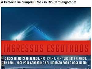 Mensagem no site oficial do Rock in Rio 2013. (Foto: Reprodução)