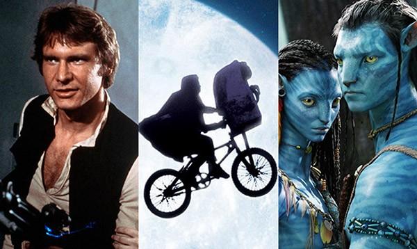 Star Wars (ou Episódio IV: Uma Nova Esperança) (1977), E.T. - O Extraterrestre (1982), Avatar (2009) (Foto: Divulgação)