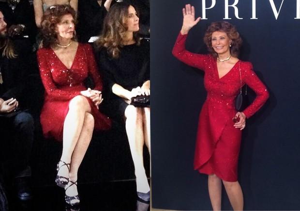 Sophia Loren no desfile de Giorgio Armani Priv. (Foto: Reproduo / Instagram)