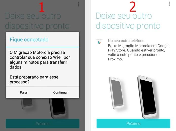 À esquerda, caixa de diálogo para confirmar controle do Migrate sobre conexão Wi-Fi. À direita, tela para preparação do outro dispositivo (Foto: Reprodução/Raquel)