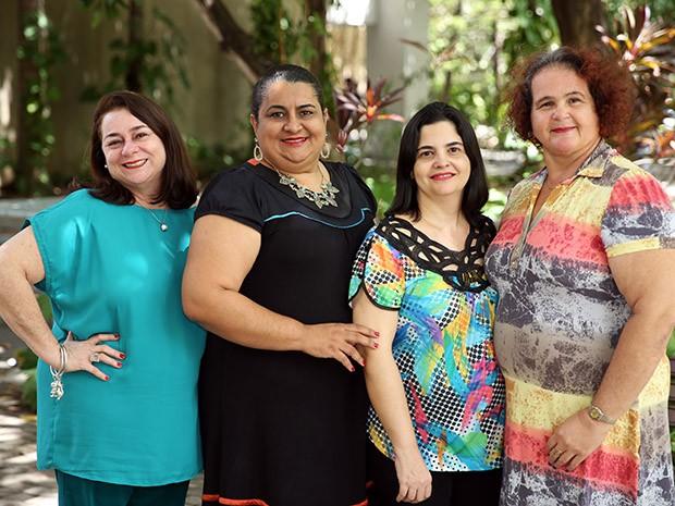 As professoras Patrice Falcão, Débora Guerra, Adna Braquehais e Diva Teixeira são autoras do artigo que conquistou um dos prêmios mais importantes na área de Enfermagem do país (Foto: Ares Soares/Unifor)
