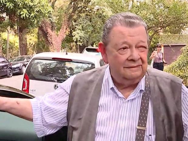 Delfim Netto foi visitar o vice-presidente Michel Temer em São Paulo (Foto: GloboNews/Reprodução)