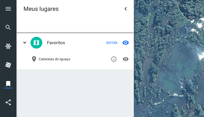 Locais salvos no Google Earth (Foto: Reprodução/Helito Bijora)