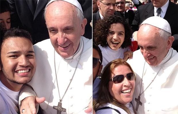 Selfie papal: à esquerda, o carioca Vinícius Arouca e o Papa; à direita, a paulistana Maristela Ciarrocchi  (Foto: Divulgação/Vinícius Arouca/Maristela Ciarrocchi )