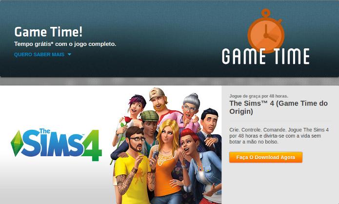 The Sims 4 pode ser testado por 48 horas no Game Time da loja Origin (Foto: Reprodução/Origin)