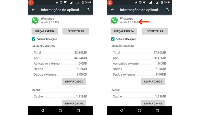 Comparação entre versões do WhatsApp antes e depois do programa beta (Foto: Reprodução/Raquel Freire)