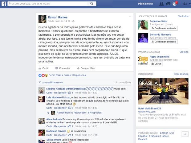 Desabafo da universitária Rainah Ramos em rede social; jovem foi agredida por ladrão e relata que homens que corriam para socorrê-la 'pararam' depois de o criminoso afirmar que a discussão era 'briga de casal' (Foto: Facebook/Reprodução)