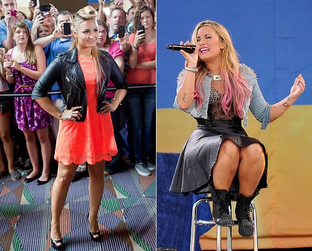 """Demi Lovato durante a audição do """"The X Factor"""" (à esquerda) e na apresentação no """"Good Morning America"""", na sexta-feira (6) (à direita) (Foto: Getty Images)"""