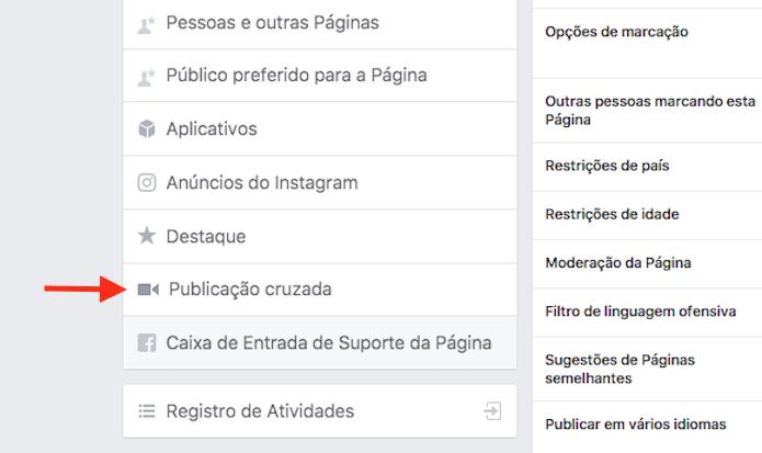 Acesso para as opções de Publicações Cruzadas de uma página do Facebook (Foto: Reprodução/Marvin Costa)