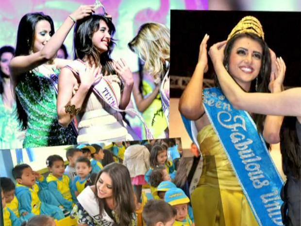 Anaju mostra álbum de fotos de diferentes concuros de beleza (Foto: Vídeo Show / TV Globo)