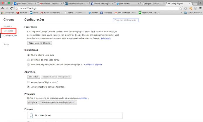 A seção Extensões dará acesso a todas que foram instaladas no Google Chrome (Foto: Reprodução)