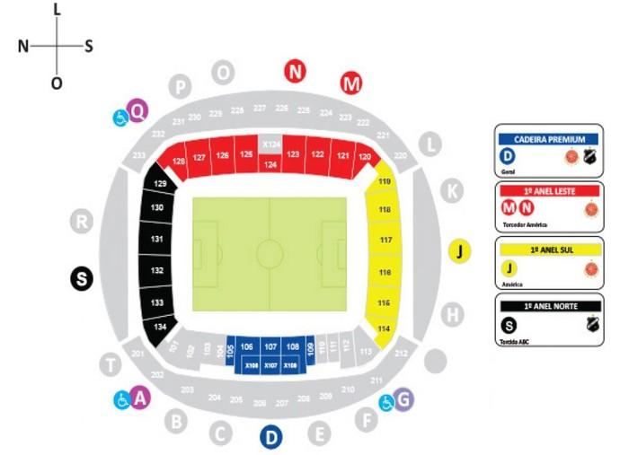 Mapa América-RN x ABC Arena das Dunas (Foto: Reprodução)